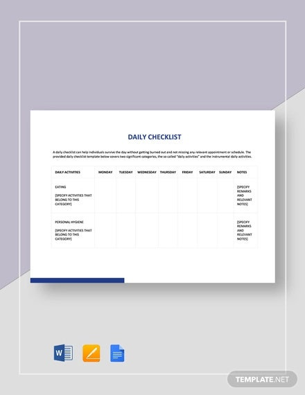 Checklist Template - 16+ Free Word, Excel, PDF Document