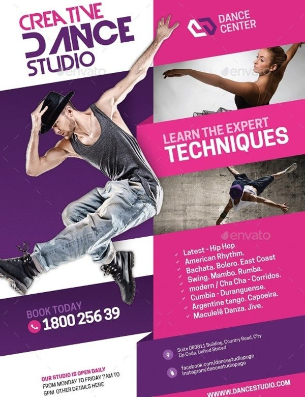 dance arts and tutoring flyer