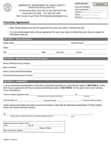 dealer franchise agreement 1