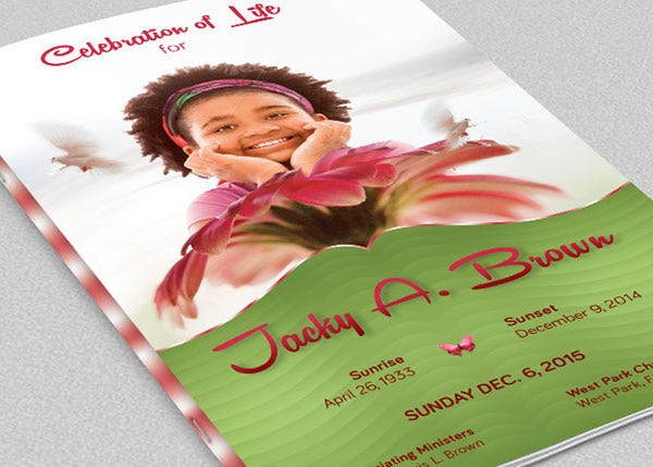 design of child funeral program template