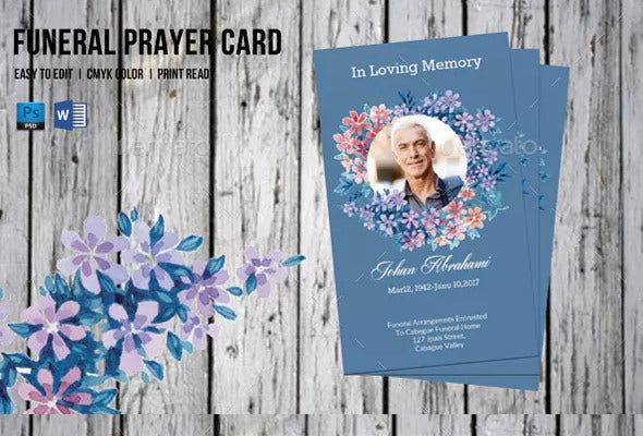 design of funeral prayer card