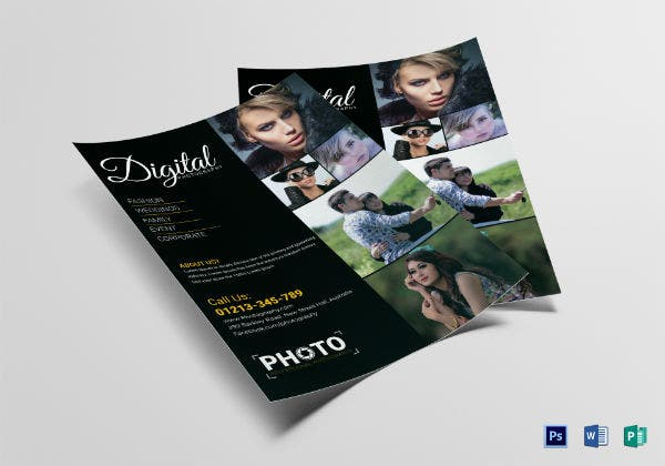 digital wedding photography flyer template