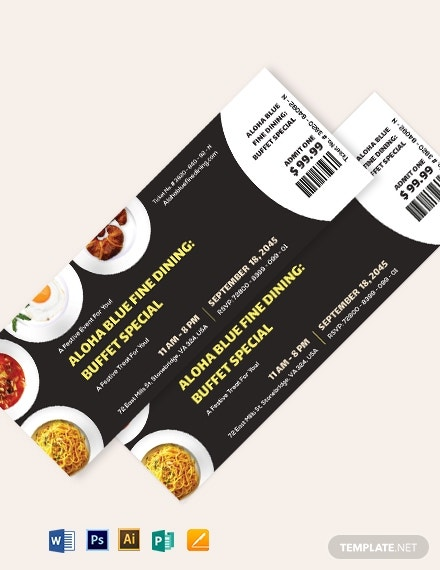 dinner event ticket template 1
