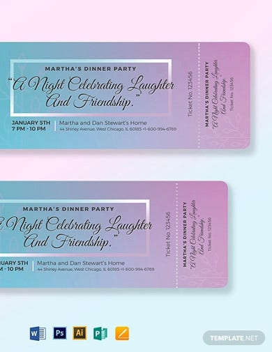 dinner party ticket template1