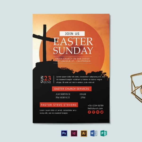easter church services flyer example