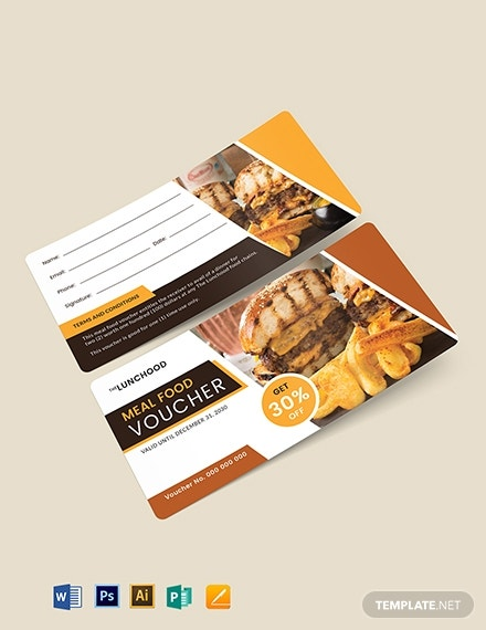 editable meal food voucher sample