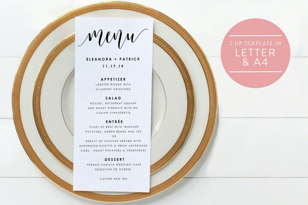 editable pdf wedding menu