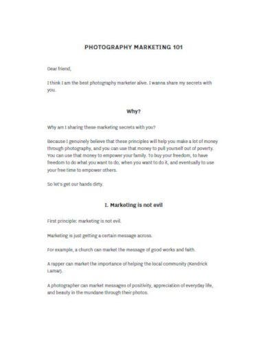 editable photography business plan template