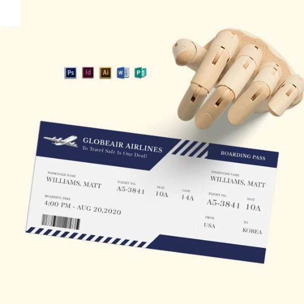 editable plane boarding ticket template