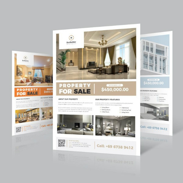 editable real estate flyer layout