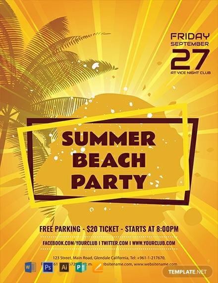 editable summer beach flyer layout