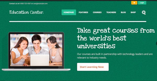education center course builder wordpress theme