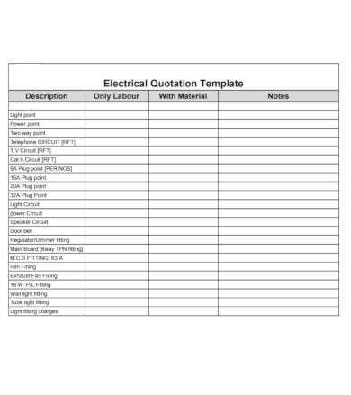 electrical quotation template example