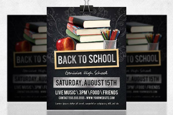 elegant back to school party flyer template