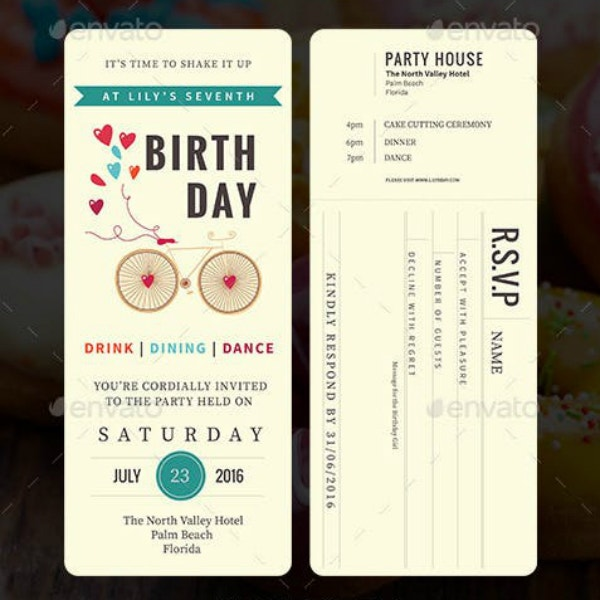 Elegant Birthday Party Ticket Sample