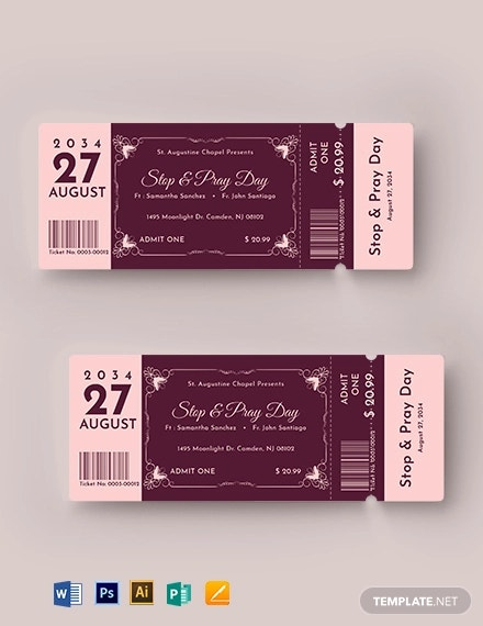 elegant church ticket template