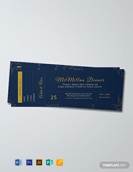 elegant dinner ticket template