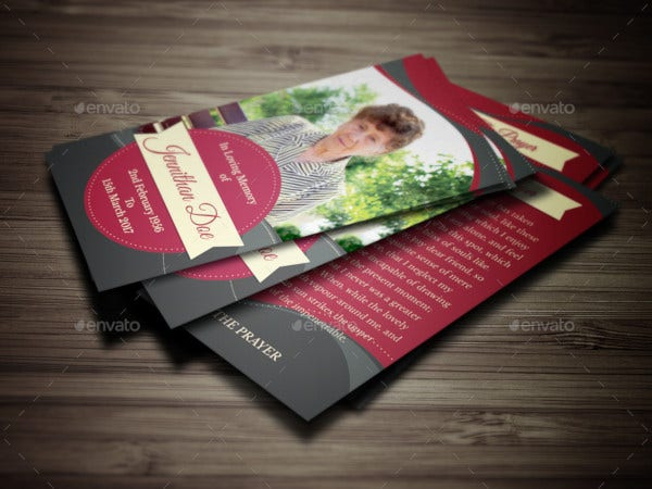 elegant funeral prayer card template