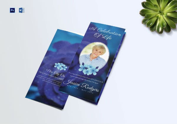 elegant funeral trifold brochure template