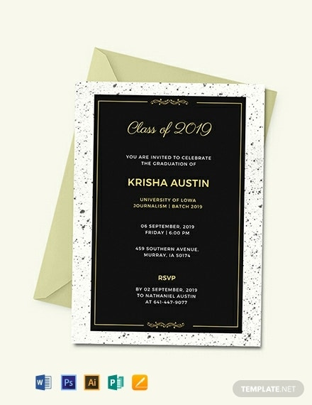 elegant graduation announcement invitation layout