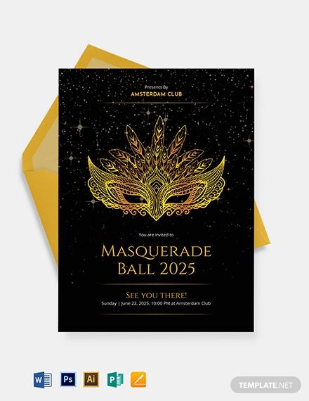 elegant masquerade ball invitation template