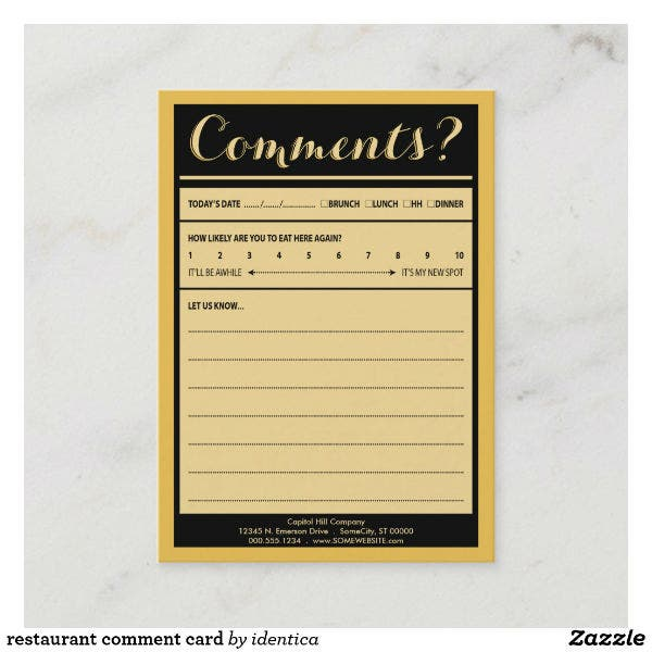 elegant restaurant comment card template