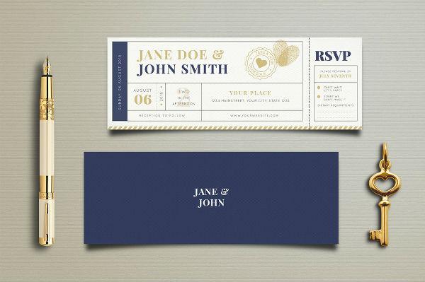 elegant wedding invitation ticket template