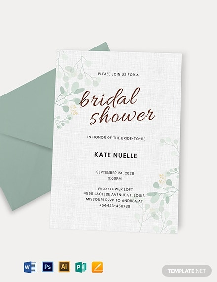 elegant wedding shower party invitation template