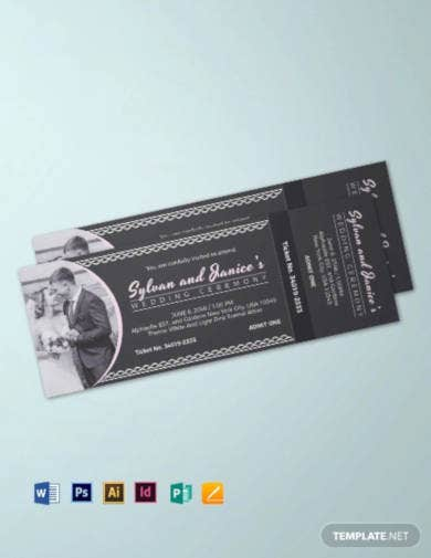 elegant wedding ticket template