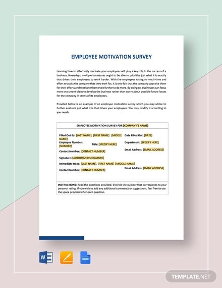 employee motivation survey template