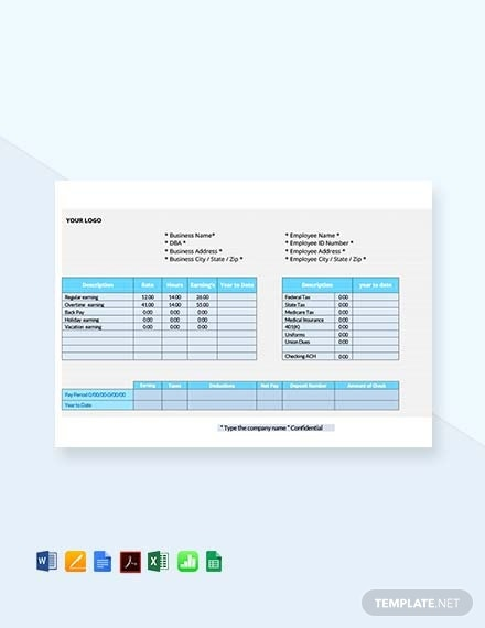 employee pay stub template 1