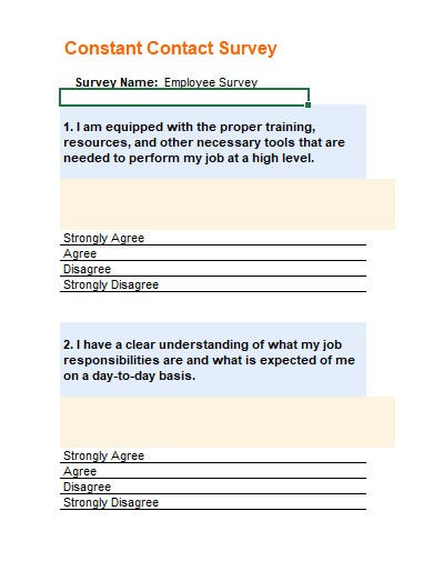 employee survey template in xls