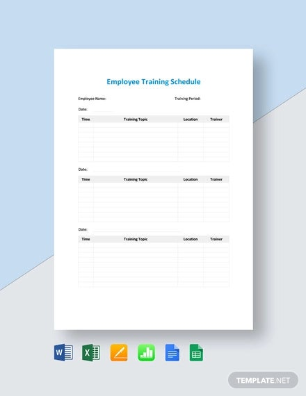 employee training schedule template
