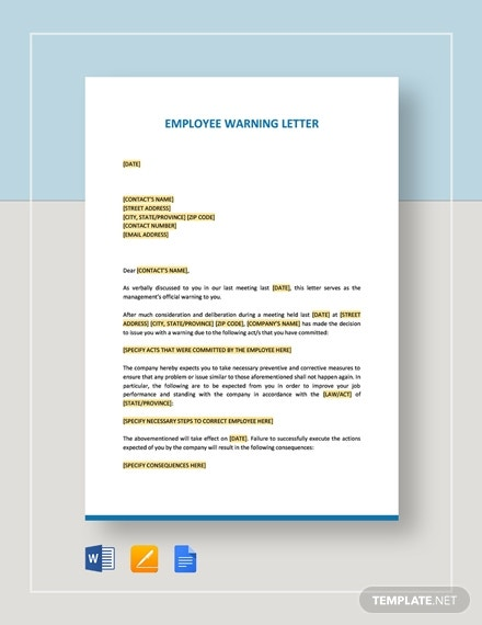 employee warning letter