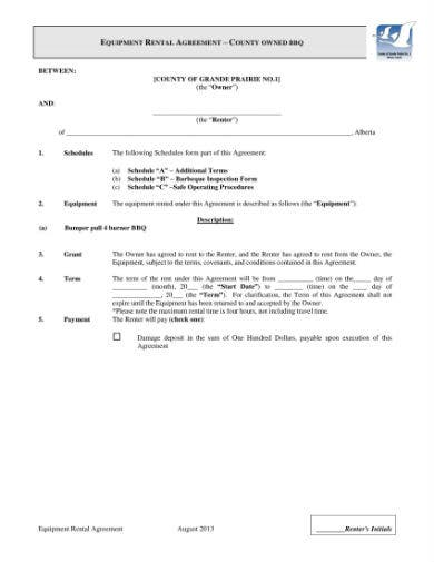 equipment rental agreement 1