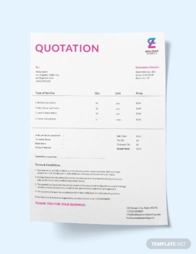 event planner quotation template