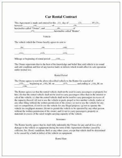 example of car rental agreement template 1