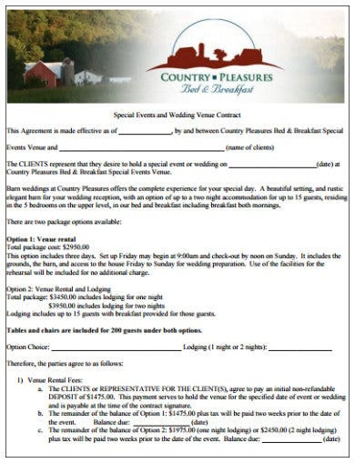 example of special event and wedding venue contract