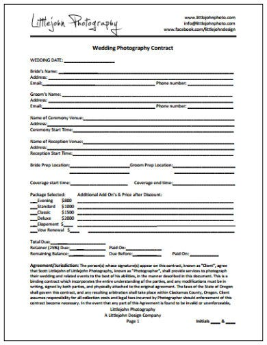 example of wedding photography contract