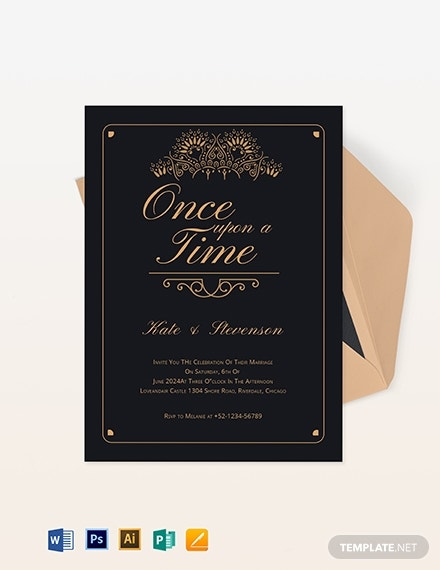 fairytale inspired wedding invitation layout