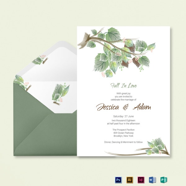 fall wedding invitation card sample