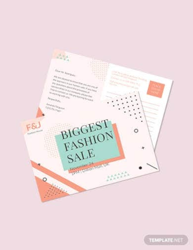 fashion sale postcard template