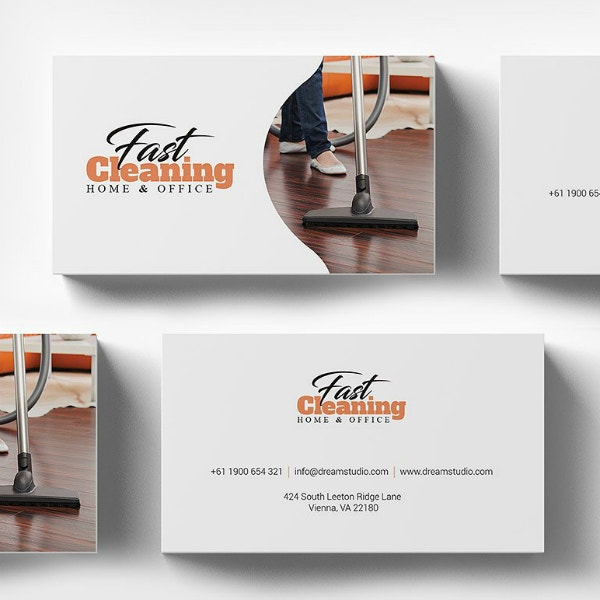 fast cleaning business card design
