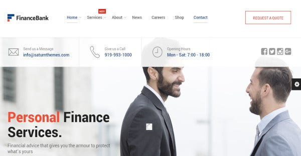 financebank drag and drop page builder wordpress theme