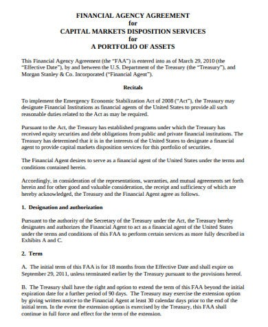financial sales agency agreement