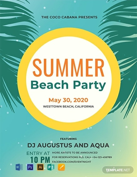 flat beach party flyer format