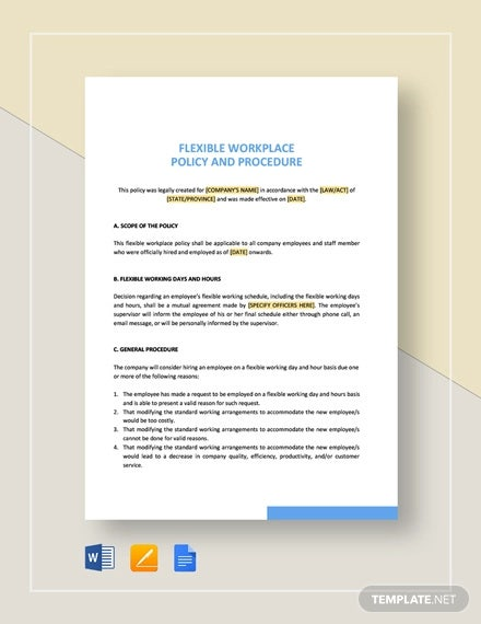 flexible working policy and procedure template