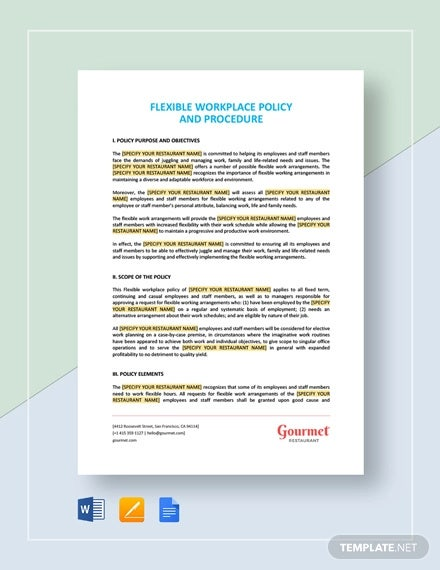 flexible workplace policy and procedure template