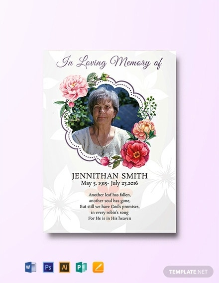 floral funeral thank you prayer card template