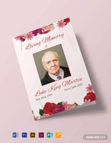 floral-obituary-bi-fold-brochure-template